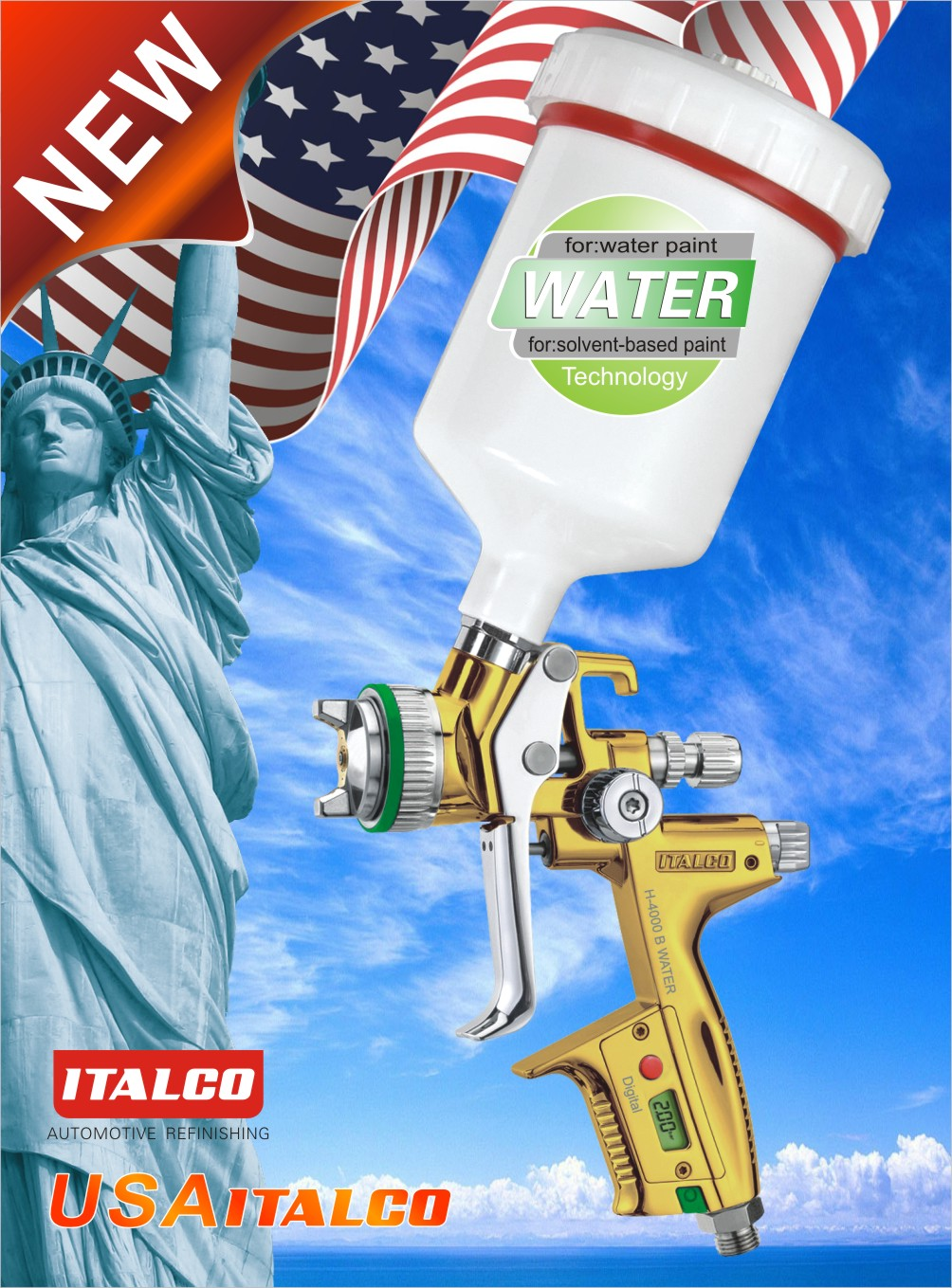 H-4000 B DIGITAL Water-borne spray gun