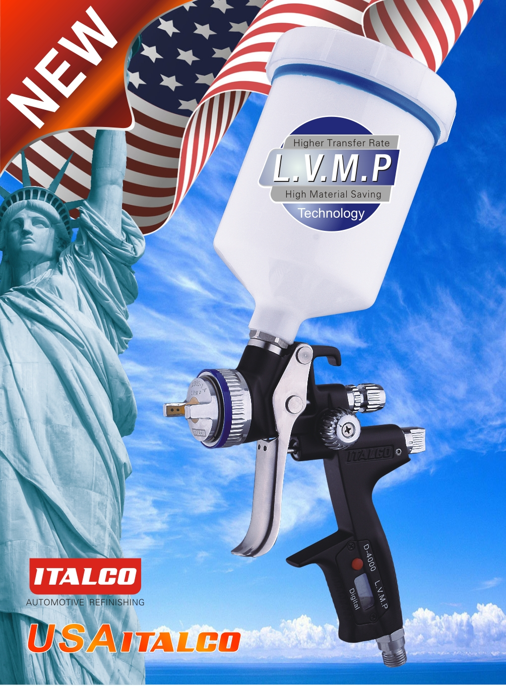 D-4000 L.V.M.P Digital Spray Gun