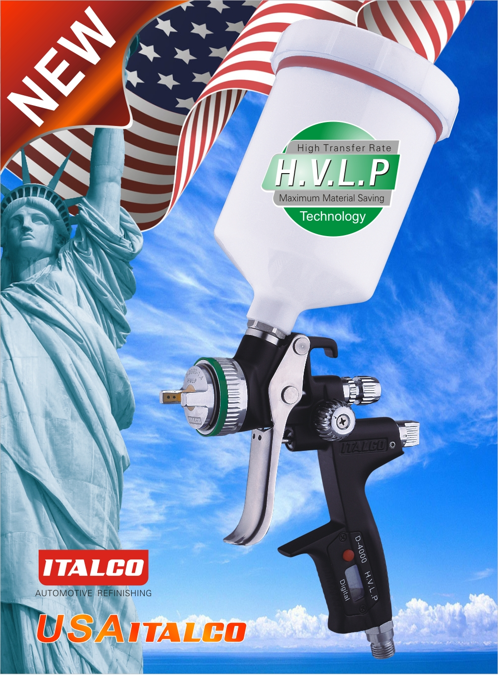D-4000 H.V.L.P Digital Spray Gun